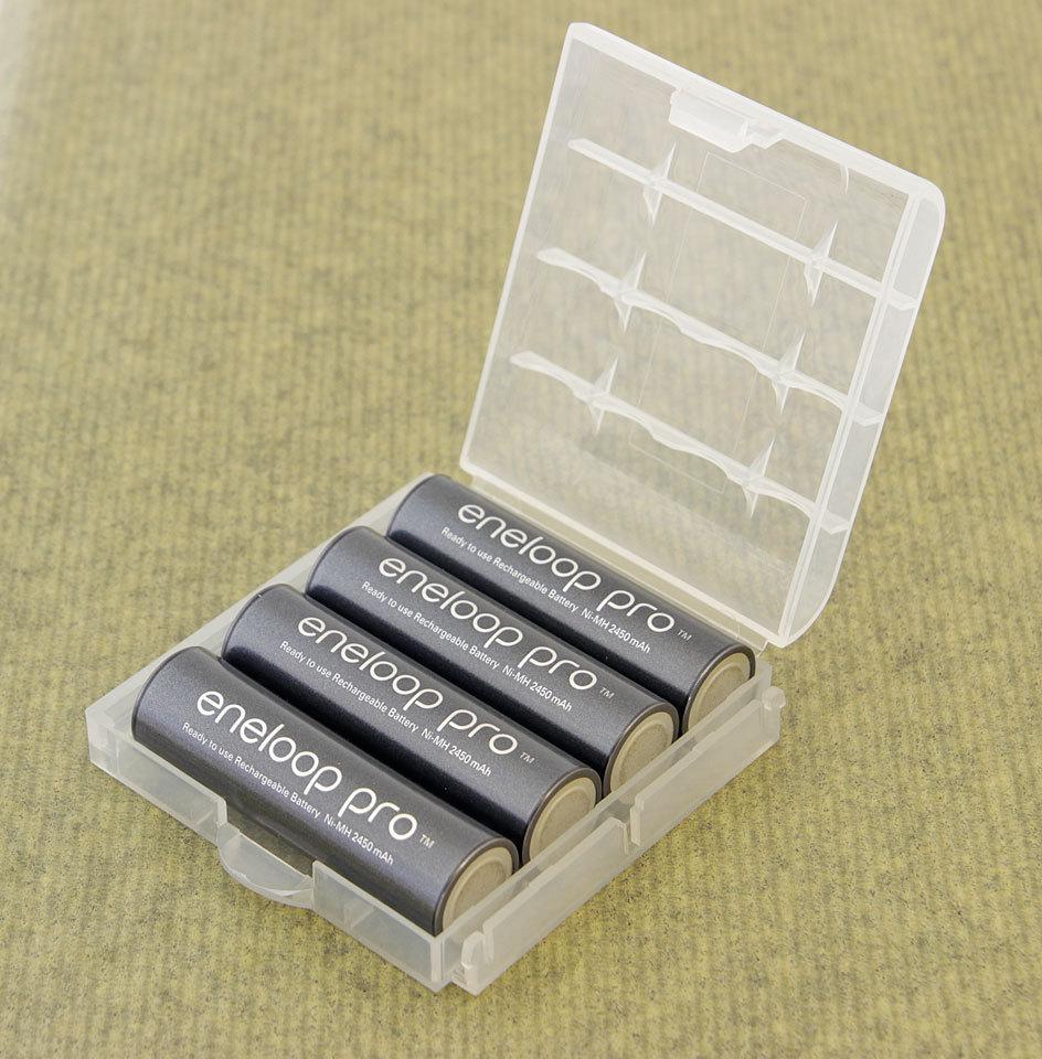 Eneloop 4kpl AA min. 2500 mAh Pro BK-3HCDE NiMH-akut muovikotelossa