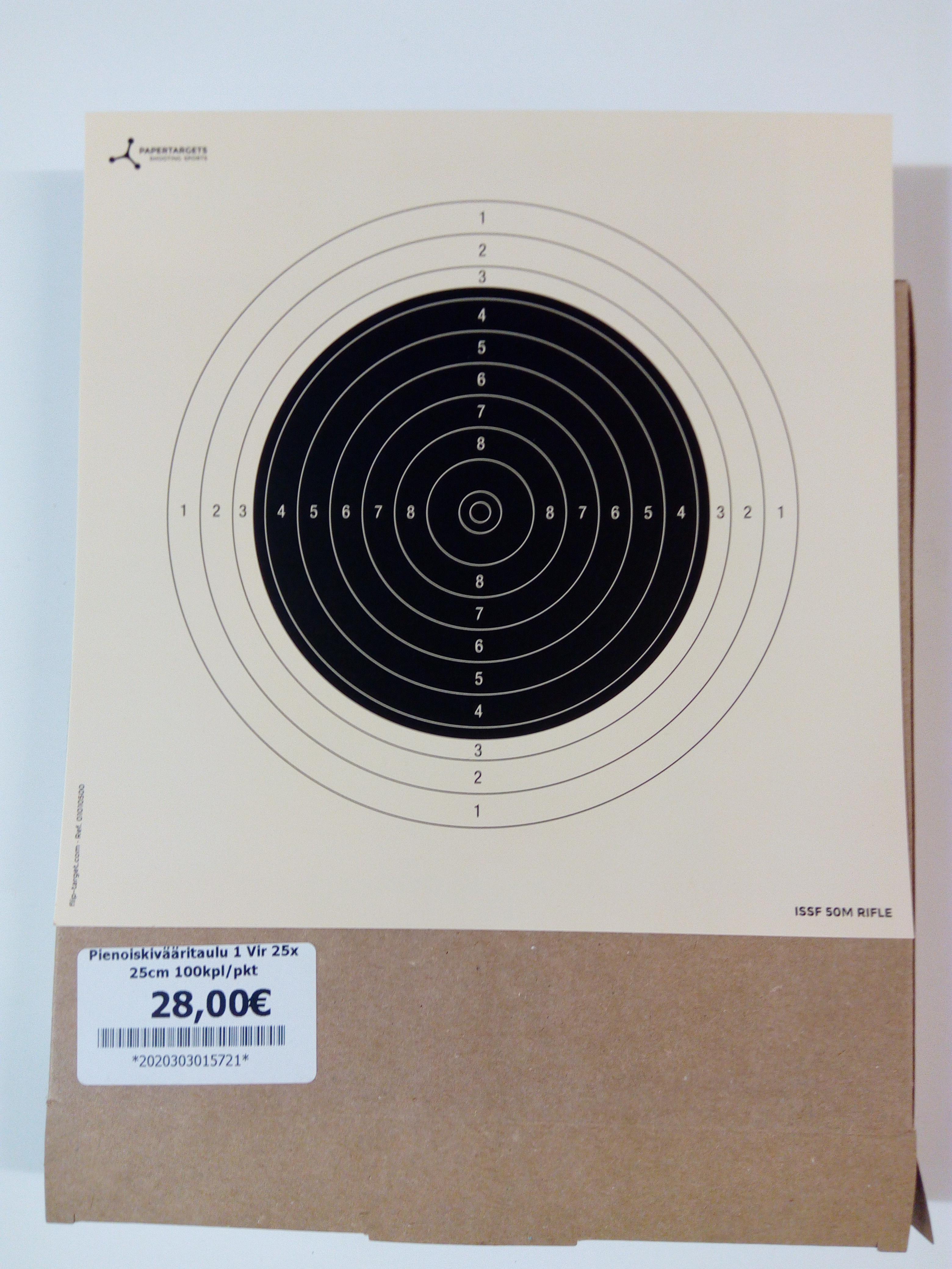 Pienoiskivääritaulu 1 Vir 25x 25cm 100kpl/pkt