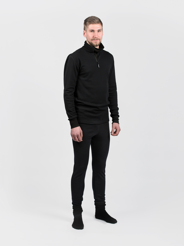 Finnsvala merinopaita, Zip-Neck, musta, XL