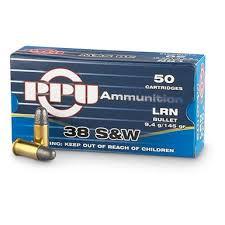 PPU .38 S&W LRN 9,4g pistoolin patruuna  50kpl/rs