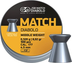 JSB Match Diabolo Middle weight Ilma-aseluoti 4,51mm 0,520g