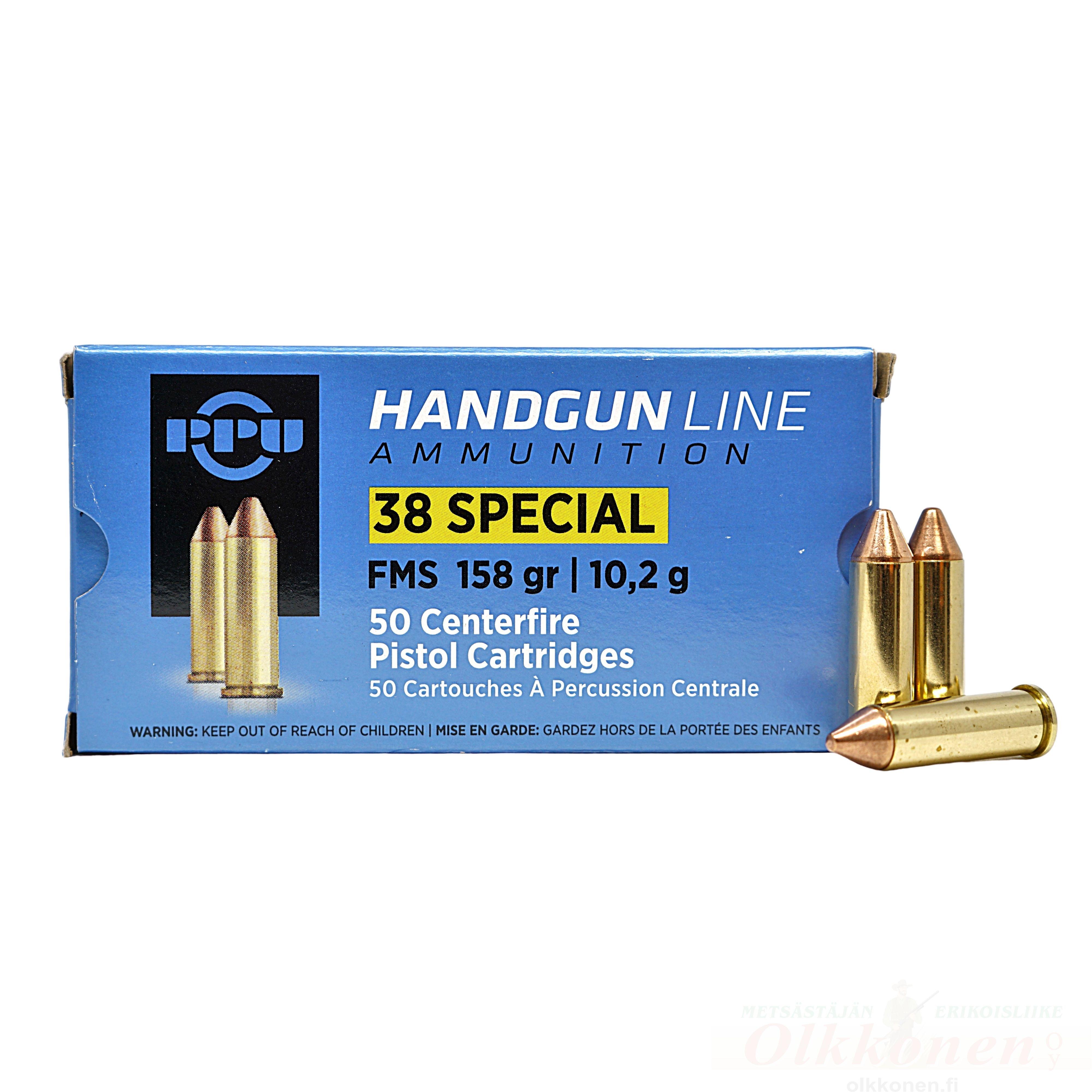 PPU .38 Special FMS 10,2g pistoolinpatruuna  50kpl/rs