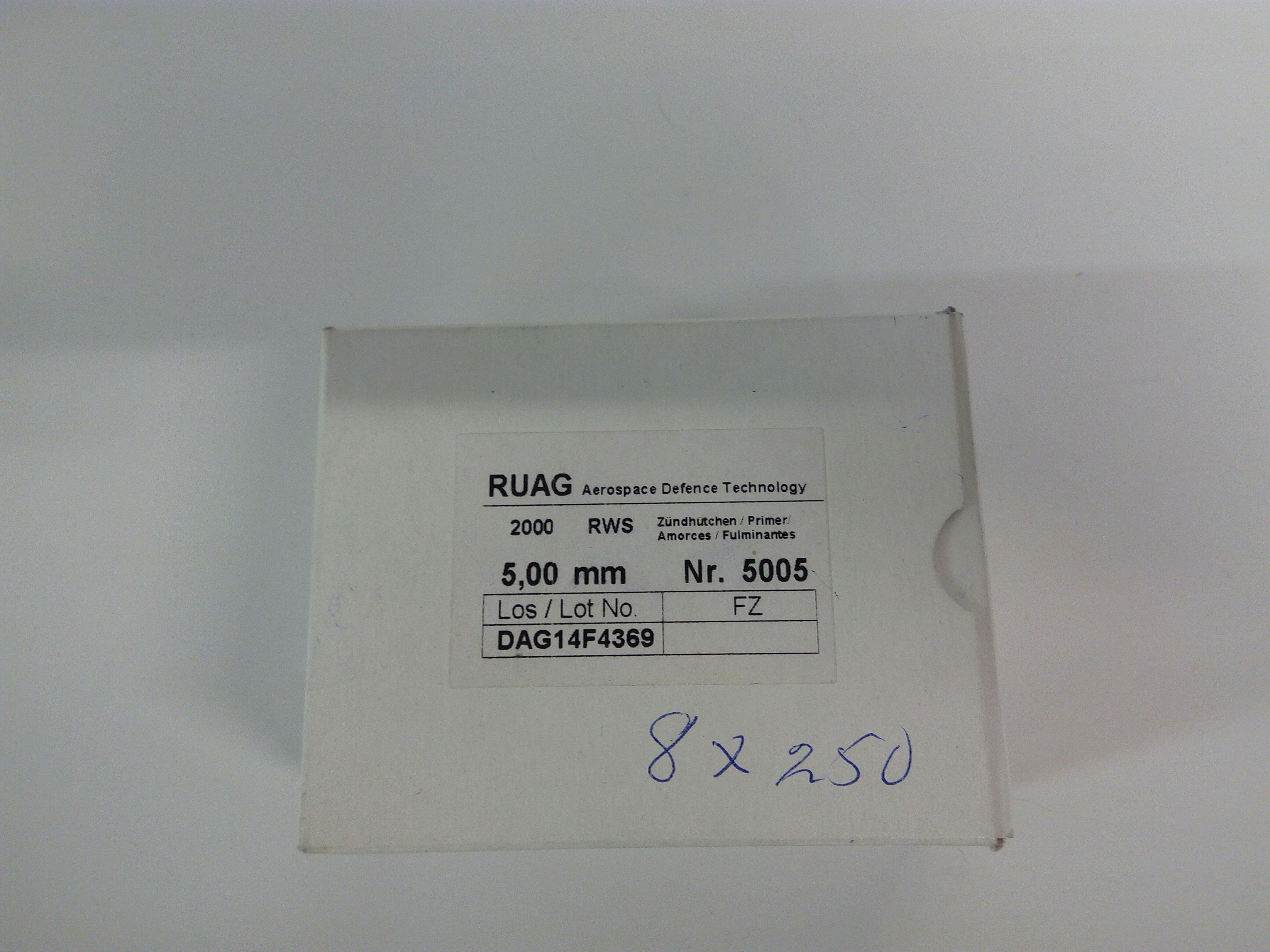 Berdan kiväärinalli 5,0 mm 250 kpl/rs RUAG